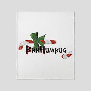 Bah Humbug Broken Candy Cane Throw Blanket