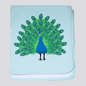 Peacock baby blanket