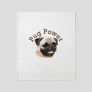 Pug Power Throw Blanket