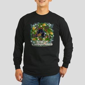 Merry Christmas Doberman 2 Long Sleeve Dark T-Shir