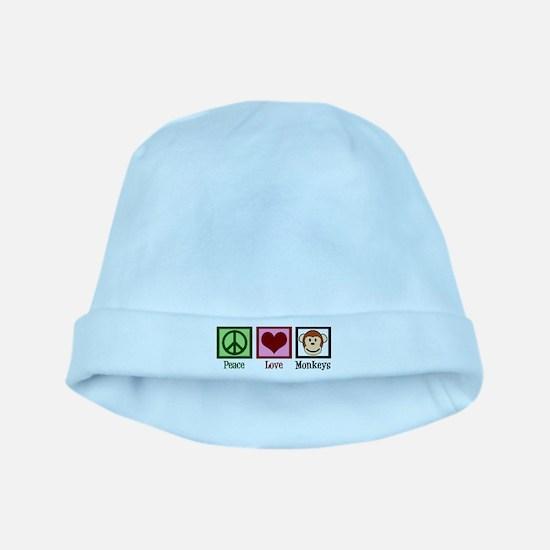 Peace Love Monkeys baby hat