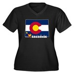 ILY Colorado Women's Plus Size V-Neck Dark T-Shirt