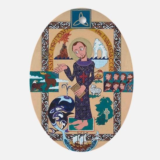Saint Brendan Painting Oval Ornament