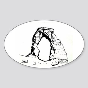 Delicate Arch BW Sticker (Oval)