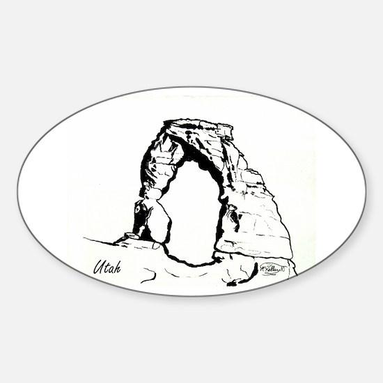Delicate Arch BW Sticker (Oval)