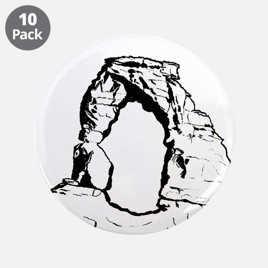 "Delicate Arch BW 3.5"" Button (10 pack)"