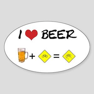 Beer + bike Oval Sticker