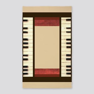 Piano keys frame border ivory center borders red w