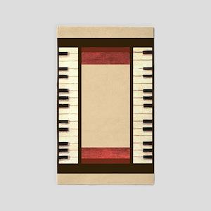 Piano keys frame border ivory center borders red w