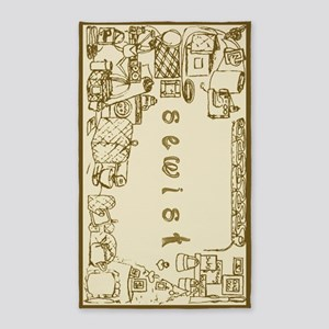 Sewist Fabric Font Sewing Border Neutral Area Rug