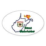 ILY West Virginia Sticker (Oval)