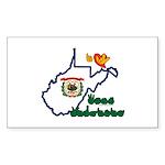 ILY West Virginia Sticker (Rectangle 10 pk)