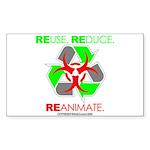 REUSE. REDUCE. REANIMATE. Sticker (Rectangle 10 pk
