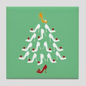 High Heel Shoe Holiday Tree Tile Coaster