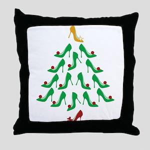 High Heel Shoe Holiday Tree Throw Pillow