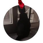 Black Cat at Screen Door Maple Round Ornament