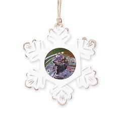 Harbour Seal Rustic Snowflake Ornament