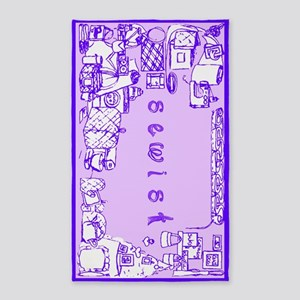 Sewist Fabric Font Sewing Border Violet Area Rug
