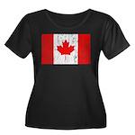 Canadian Flag Women's Plus Size Scoop Neck Dark T-