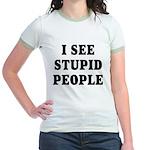 I See Stupid People Jr. Ringer T-Shirt