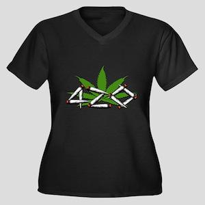 420 Marijuana Leaf Women's Plus Size V-Neck Dark T