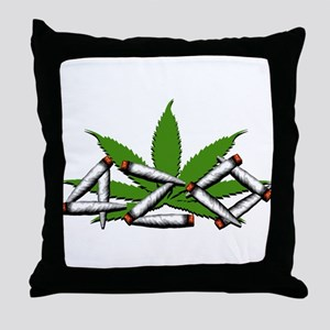 420 Marijuana Leaf Throw Pillow