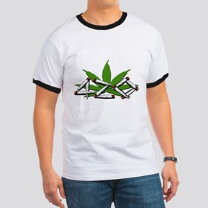 420 Marijuana Leaf Ringer T