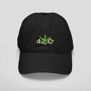420 Marijuana Leaf Black Cap