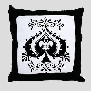 Ornate Spade Design Throw Pillow