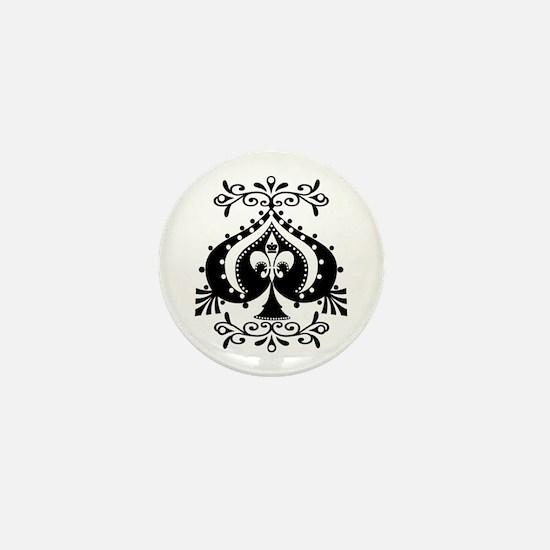 Ornate Spade Design Mini Button
