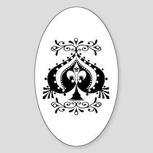 Ornate Spade Design Oval Sticker