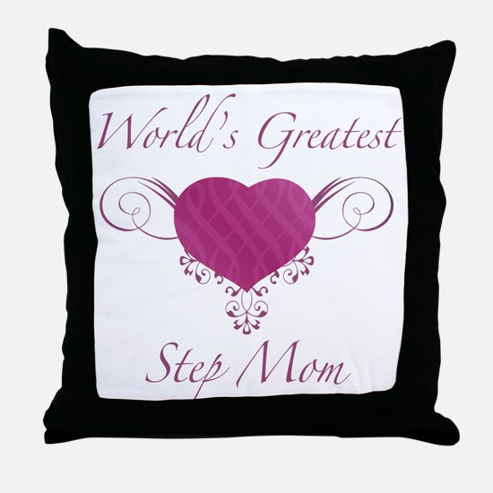 World's Greatest Step Mom (Heart) Throw Pillow