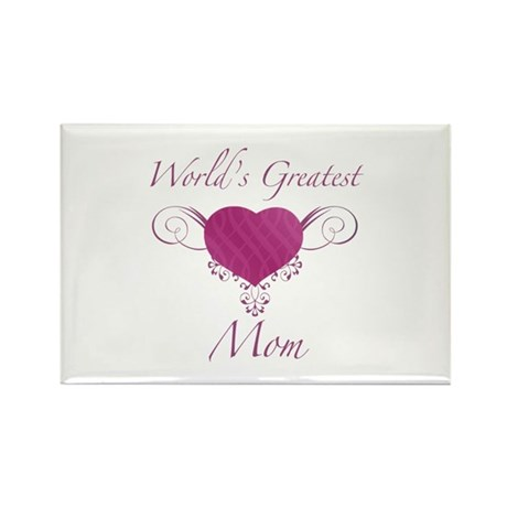 World's Greatest Mom (Heart) Rectangle Magnet (100