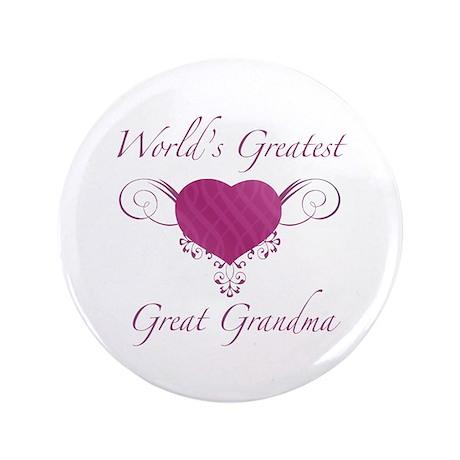 "World's Greatest Great Grandma (Heart) 3.5"" Button"