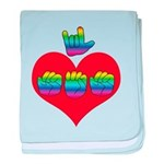 I Love Mom with Big Heart baby blanket