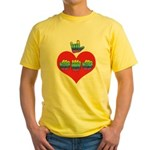 I Love Mom with Big Heart Yellow T-Shirt