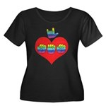 I Love Mom with Big Heart Women's Plus Size Scoop