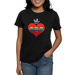I Love Mom with Big Heart Women's Dark T-Shirt