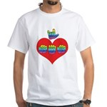 I Love Mom with Big Heart White T-Shirt