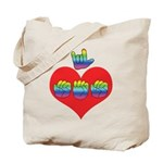 I Love Mom with Big Heart Tote Bag