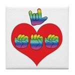 I Love Mom with Big Heart Tile Coaster
