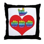 I Love Mom with Big Heart Throw Pillow