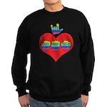 I Love Mom with Big Heart Sweatshirt (dark)