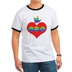 I Love Mom with Big Heart Ringer T