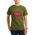 I Love Mom with Big Heart Organic Men's T-Shirt (d
