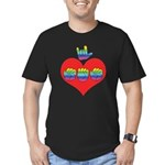 I Love Mom with Big Heart Men's Fitted T-Shirt (da