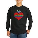 I Love Mom with Big Heart Long Sleeve Dark T-Shirt