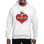 I Love Mom with Big Heart Hooded Sweatshirt