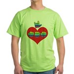 I Love Mom with Big Heart Green T-Shirt