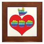 I Love Mom with Big Heart Framed Tile